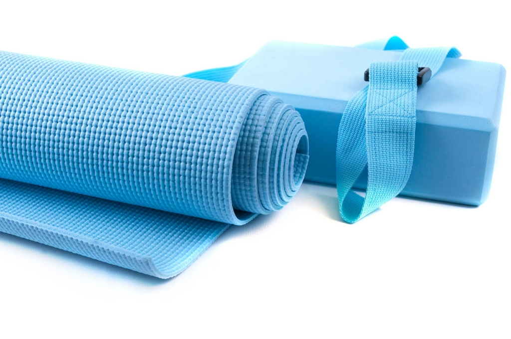 Yoga block and yoga mat